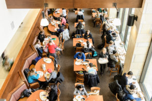 Students enjoy a lunchtime break to eat and study inside the Gordon Dining and Event Center at the University of Wisconsin-Madison on Jan. 24, 2017. (Photo by Bryce Richter / UW-Madison)
