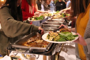 The menu consisted of roasted seasonal vegetables, wild rice, Cornish game hens, and a dessert of pumpkin pie.