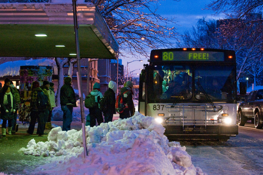 Bus stop in winter