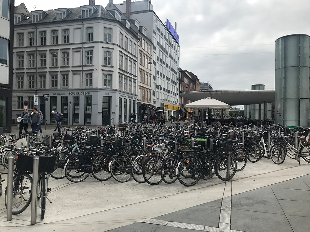 Bikes parked in Copenhagen.