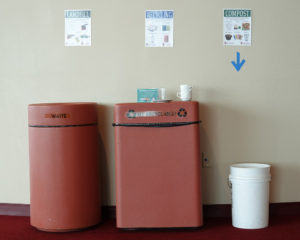 One of many trash bin setups at Monona Terrace with custom zero waste signage.