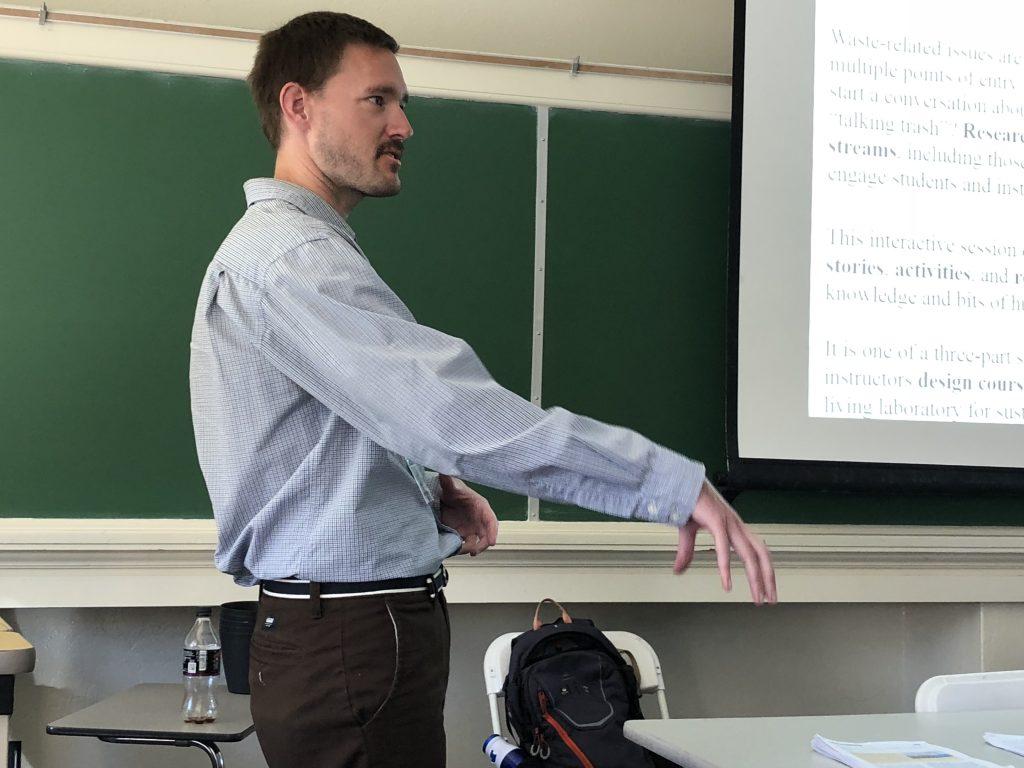 Tim Lindstrom presenting at the SENCER Summer Institute.