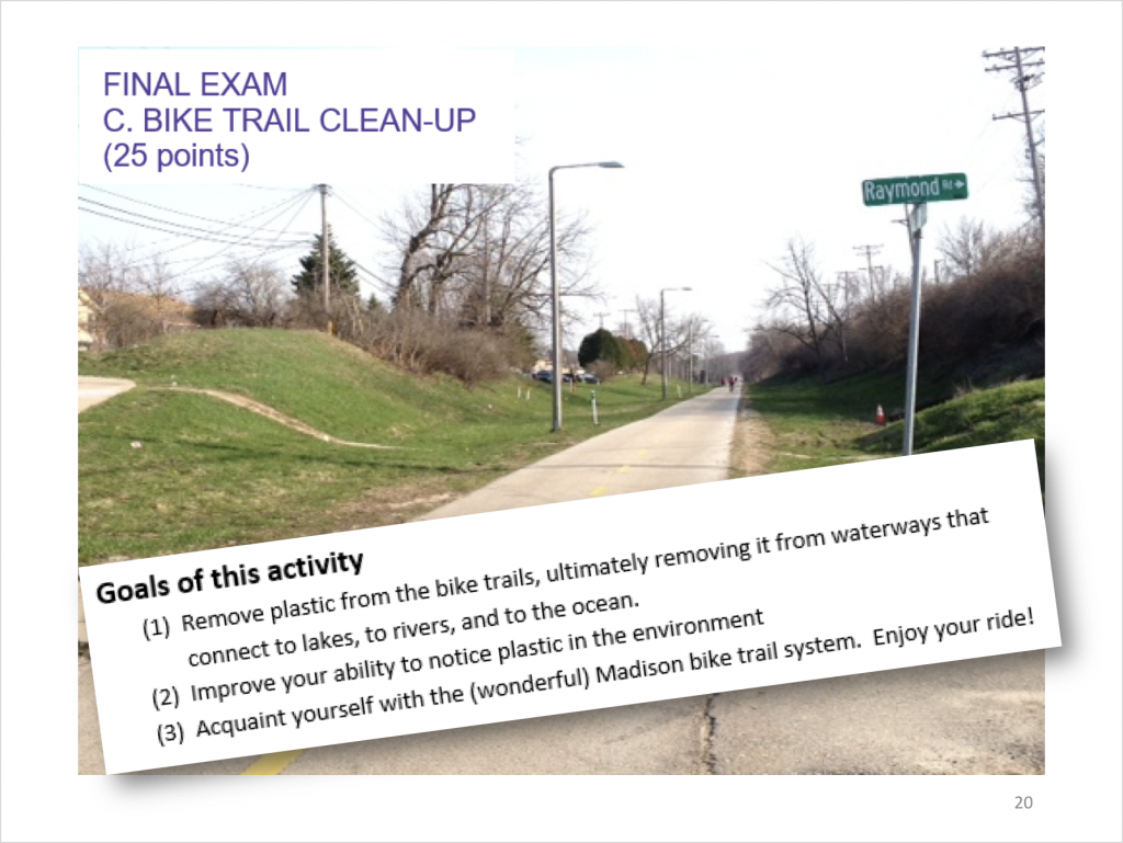 Slide describing one of the final exam options for Environmental Studies 126.
