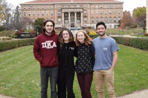 The Green Greeks team at the Office of Sustainability (L-R): Jackson Webster, Jacqueline Olson, Natalie Brunner, Cordell Murphy.