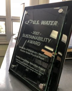 Award plaque presented by U.S. Water. Photo by Nathan Jandl.