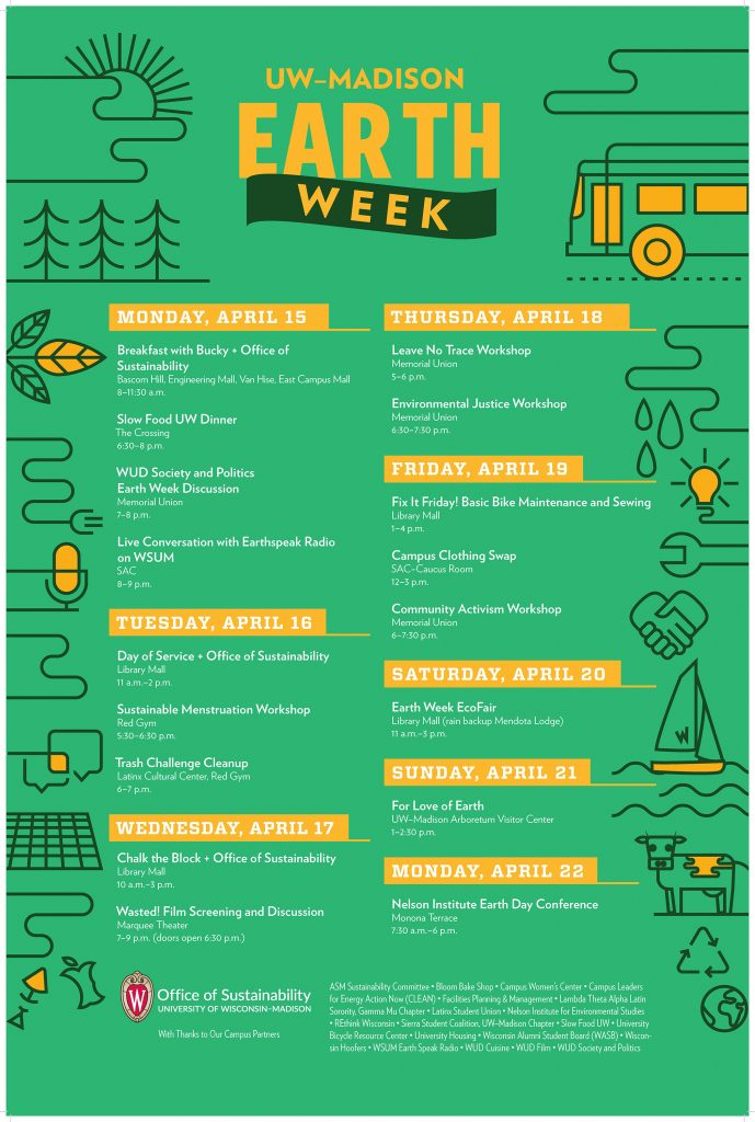 Earth Week 2019 calendar