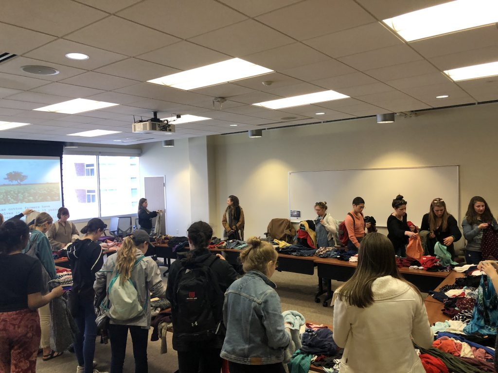 "The Campus Clothing Swap, hosted by ASM, brought throngs of people to the Student Activities Center to donate and ""shop"" for used clothes."