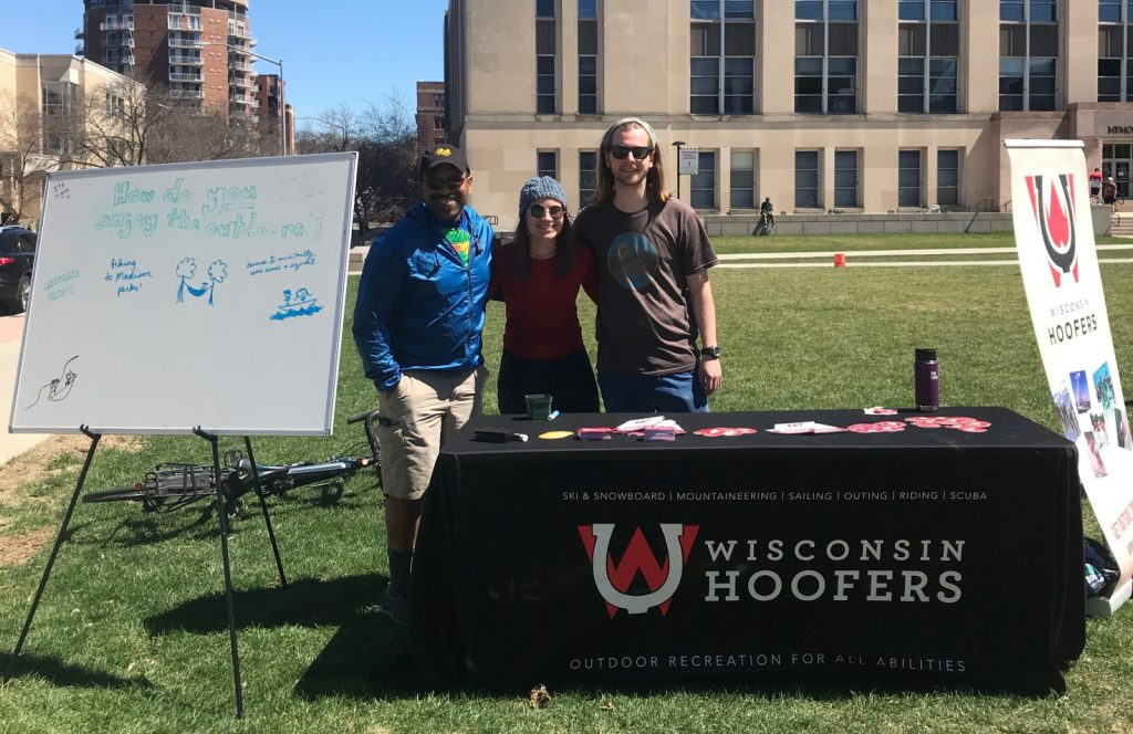 The Wisconsin Hoofers table at the EcoFair, held on the Saturday of Earth Week.